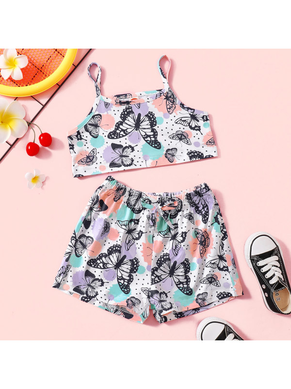 【18M-7Y】Sweet Purple Butterfly Print Top and Shorts Set