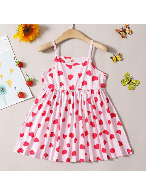 【18M-7Y】Sweet Pink Heart-shaped Print Sling Dress