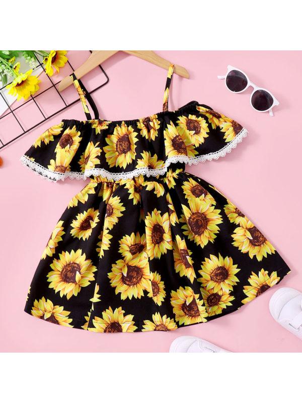 【18M-7Y】Sweet Sunflower Print Ruffled Off The Shoulder Dress