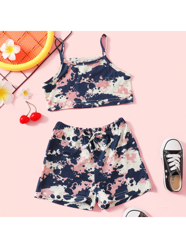 【18M-7Y】Sweet and Colorful Camouflage Print Top and Shorts Set