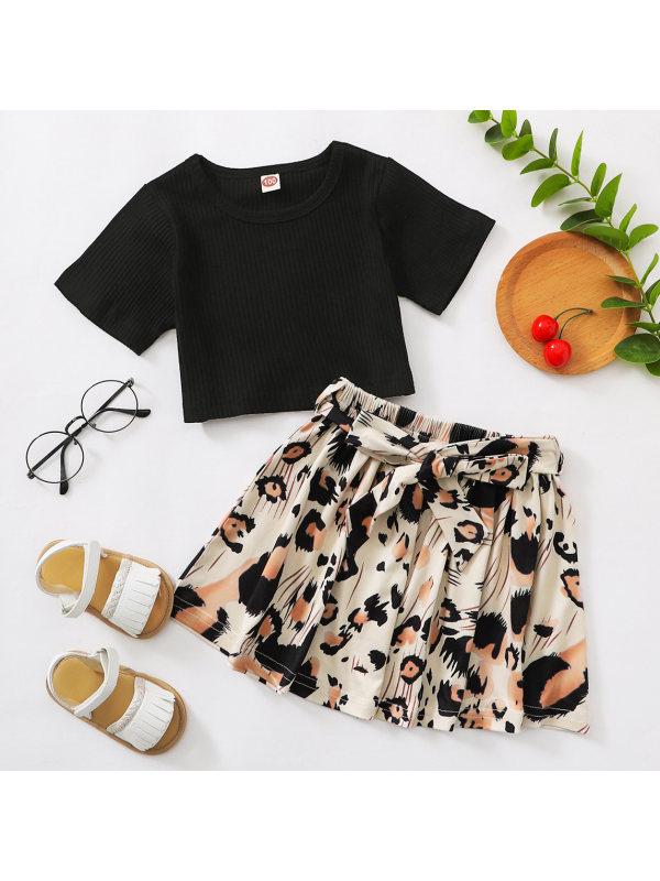 【18M-7Y】Sweet Black T-shirt and Leopard Skirt Set
