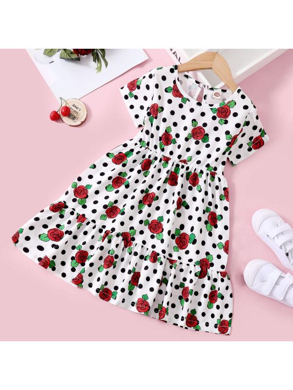 【18M-7Y】Sweet Flowers and Polka Dot Print White Dress