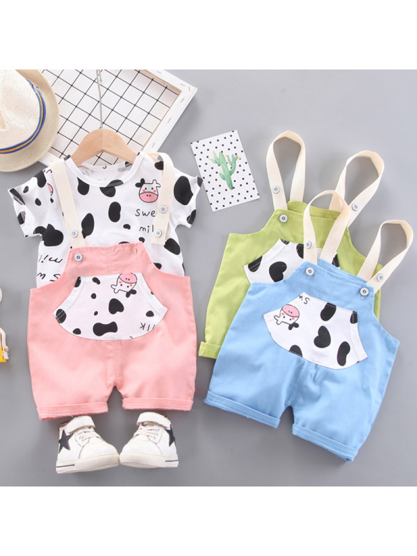 【12M-4Y】Girl Sweet Cow Pattern T-shirt Bib Set