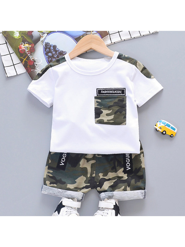 【12M-5Y】Boys Casual Camouflage Short-sleeved T-shirt Shorts Set