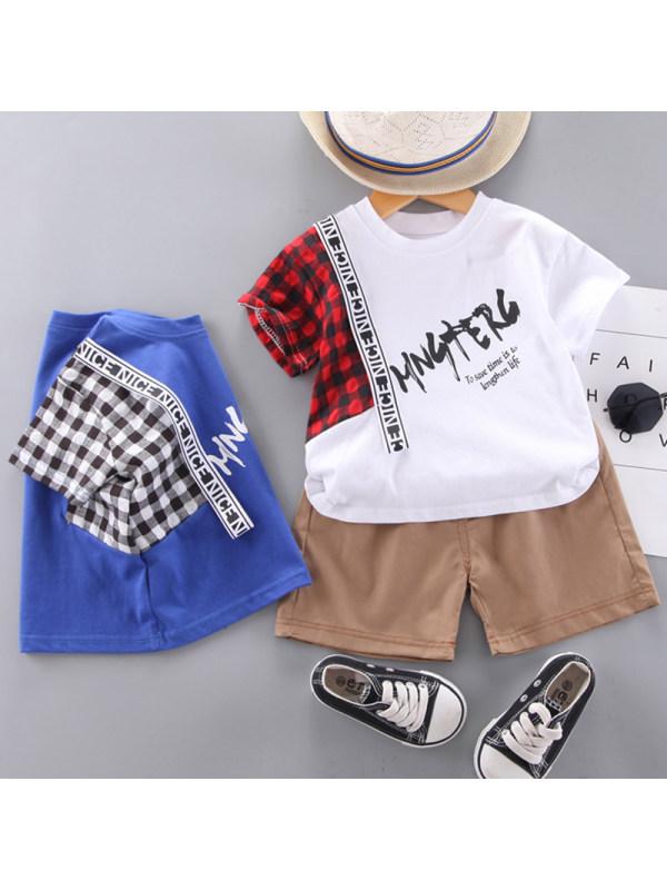 【12M-5Y】Boy Casual Plaid Letter Pattern T-shirt Shorts Set