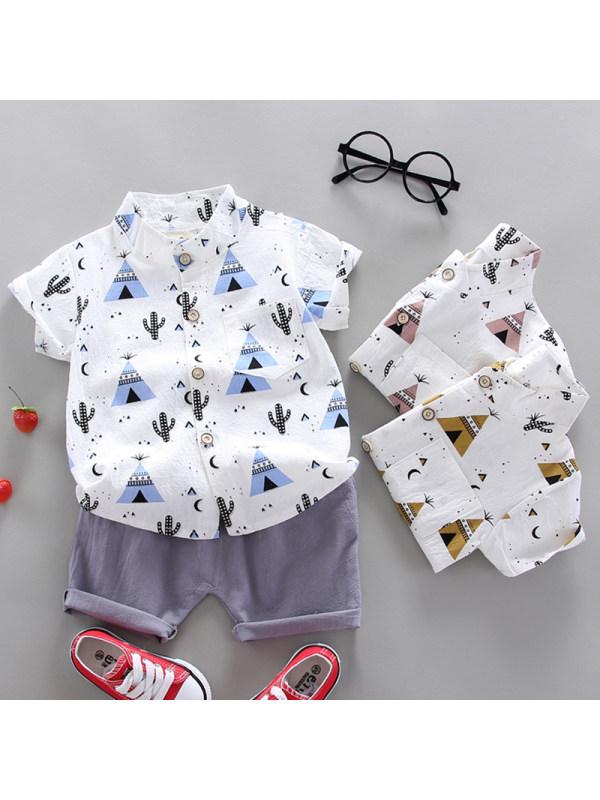 【12M-4Y】Boys Casual Cartoon Pattern Shirt Shorts Set
