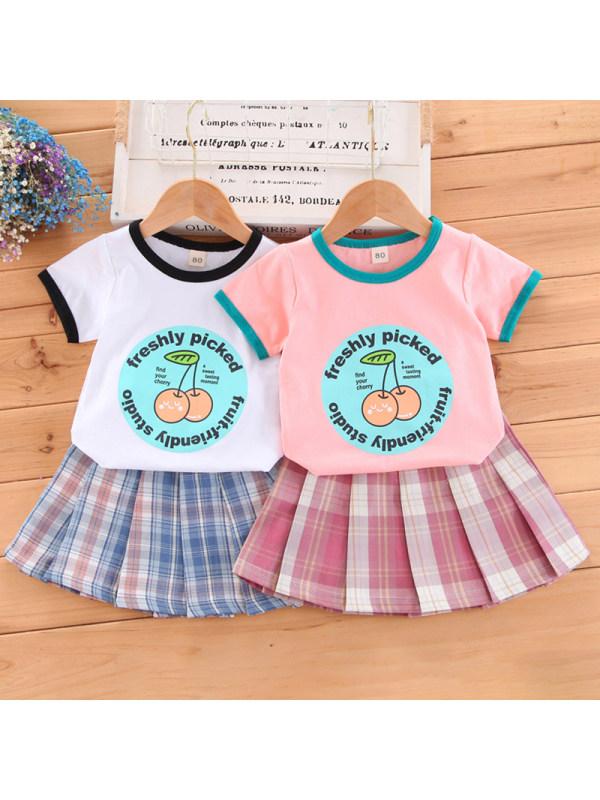 【12M-5Y】Girl Sweet Cartoon Pattern T-shirt Plaid Skirt Set