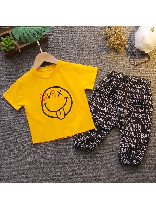 【12M-5Y】Boys Casual Smiley Face Pattern T-shirt Letter Shorts Set