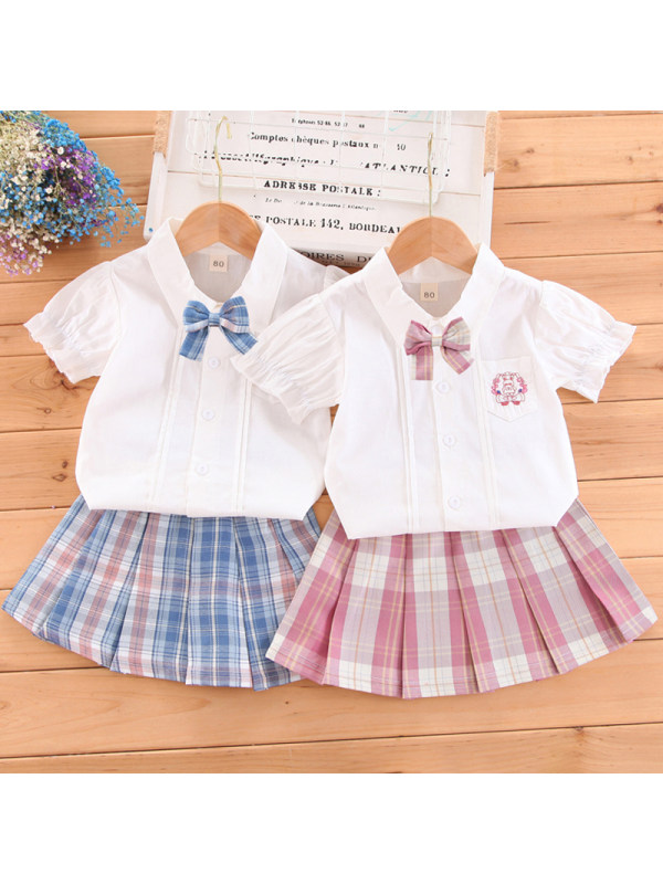【12M-5Y】Girl Sweet Plaid Shirt Skirt Set