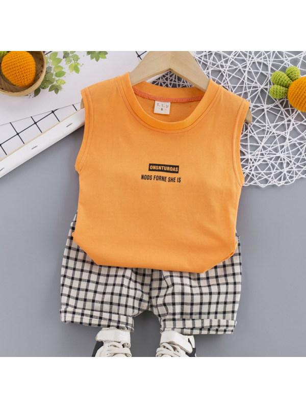 【12M-4Y】Boys Casual Letter Pattern Vest Plaid Shorts Set