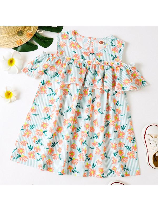【18M-7Y】Sweet Orange Flower Print Ruffle Dress