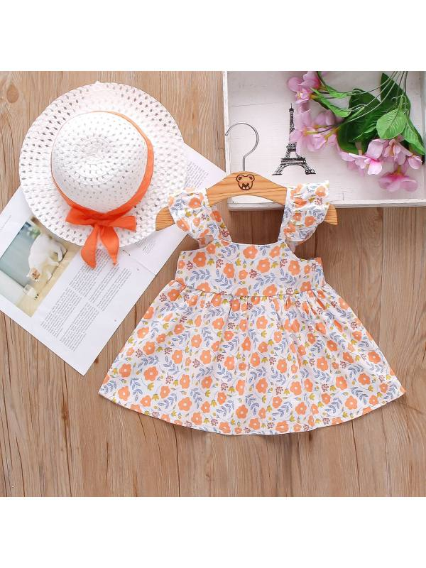 【12M-4Y】Sweet Flower Print Bow Dress with Hat
