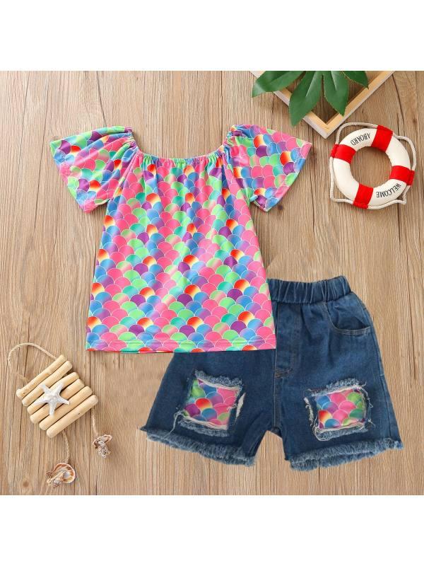 【18M-5Y】Girls One-shoulder Short-sleeved Top Denim Shorts Suit