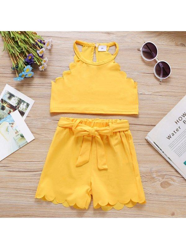 【18M-7Y】Girl Sweet Yellow Vest Shorts Set