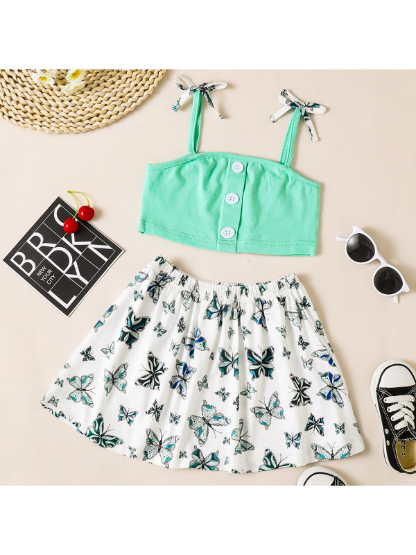 【18M-7Y】Sweet Short Top and Butterfly Print Skirt Set