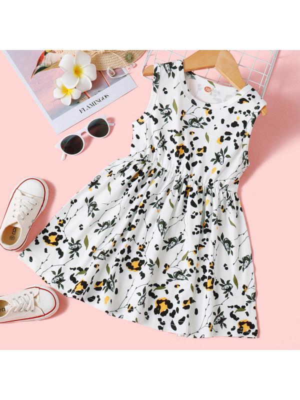 【18M-7Y】Sweet Flower and Leopard Print Dress