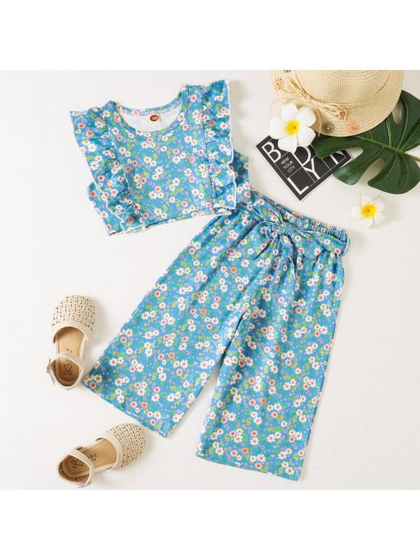 【18M-7Y】Sweet Blue Flower Print Set