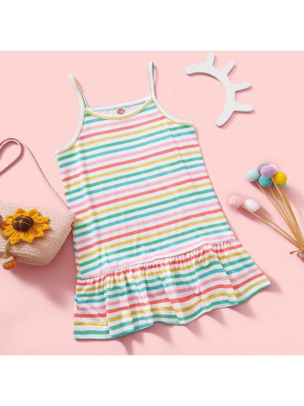 【18M-7Y】Sweet Striped Print Ruffled Sling Dress