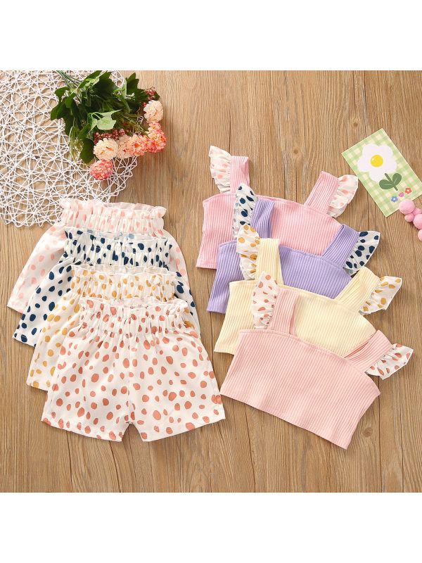 【12M-5Y】Girls Fashion Sweet Camisole Top Polka Dot Shorts Suit