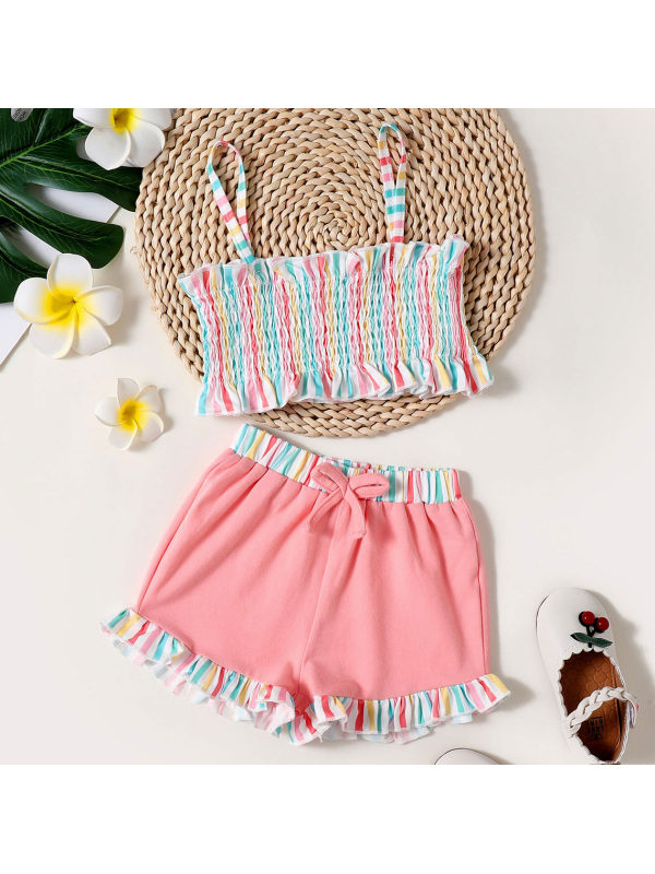 【18M-7Y】Sweet Colorful Striped Print Top and Pink Shorts Set