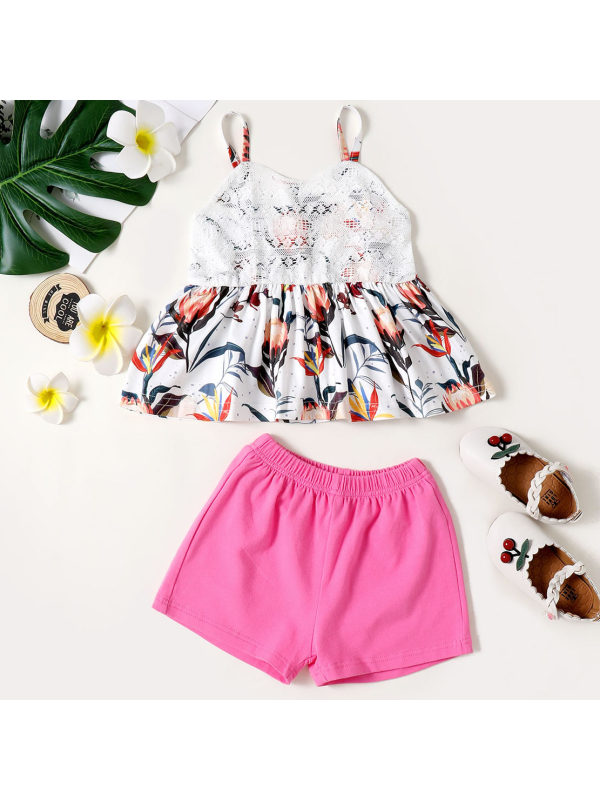 【18M-7Y】Sweet Floral Print Top and Rose Shorts Set