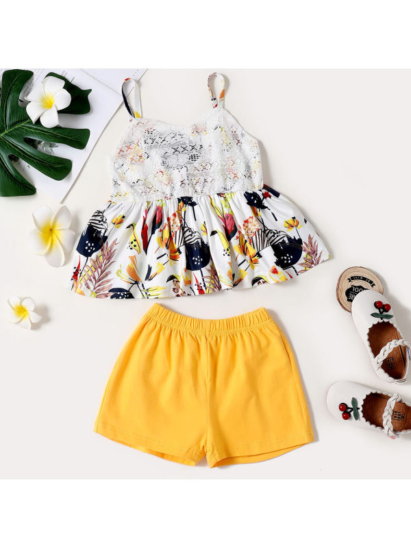 【18M-7Y】Sweet Floral Print Top and Yellow Shorts Set