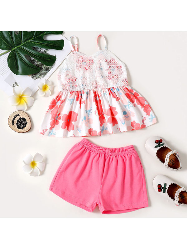 【18M-7Y】Sweet Floral Print Top and Pink Shorts Set