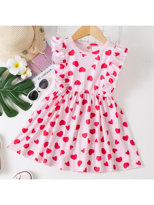 【18M-7Y】Lovely Red Heart-shaped Print Pink Dress