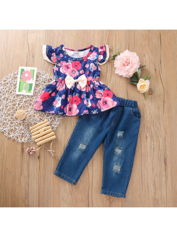 【12M-5Y】Girls Floral Print Fly-Sleeve Bow Jeans Suit