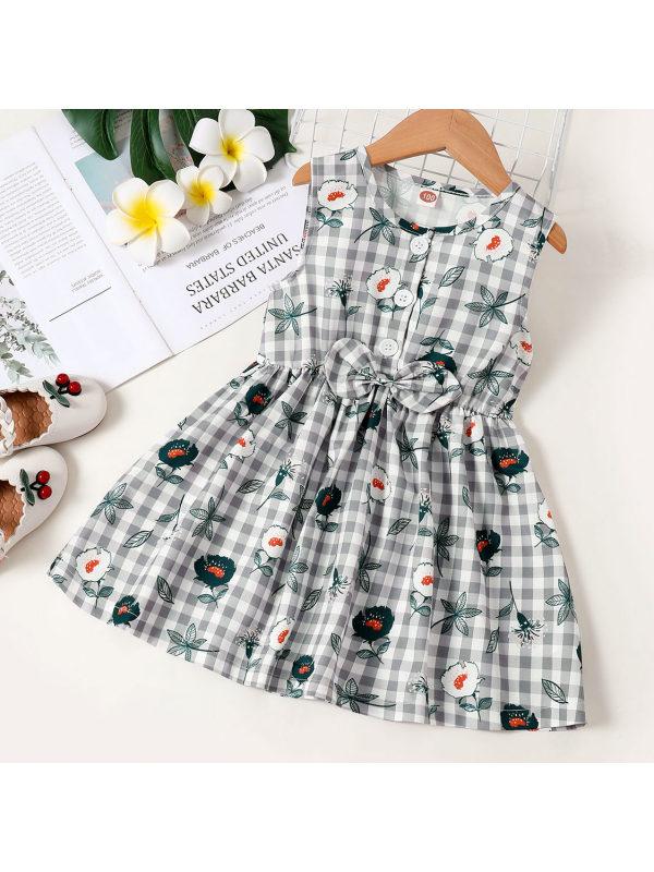 【18M-7Y】Sweet Blue Plaid and Flower Print Dress