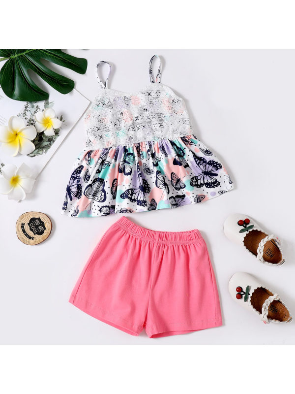 【18M-7Y】Sweet Butterfly Print Top and Pink Shorts Set