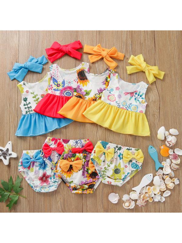 【12M-5Y】Girls Sweet Cute Ruffled Bow-knot Vest Split Swimsuit Suit
