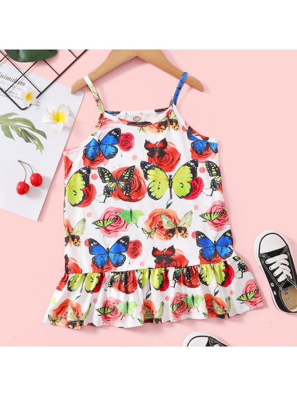 【18M-7Y】Sweet Butterfly Print Ruffled Sling Dress