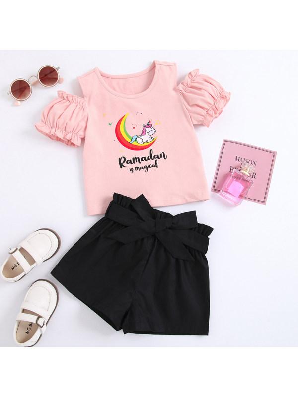 【18M-7Y】Cute Cartoon Unicorn Pink T-shirt and Black Shorts Set