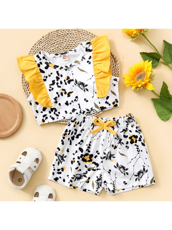 【18M-7Y】Sweet Yellow Flower Print Top and Shorts Set