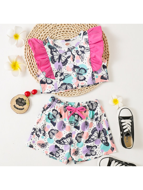 【18M-7Y】Sweet Butterfly Print Top and Shorts Set