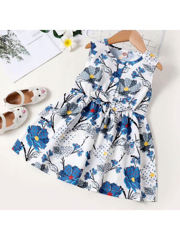 【18M-7Y】Sweet Blue Flower Print Dress