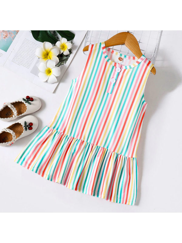 【18M-7Y】Sweet and Colorful Striped Print Ruffle Dress