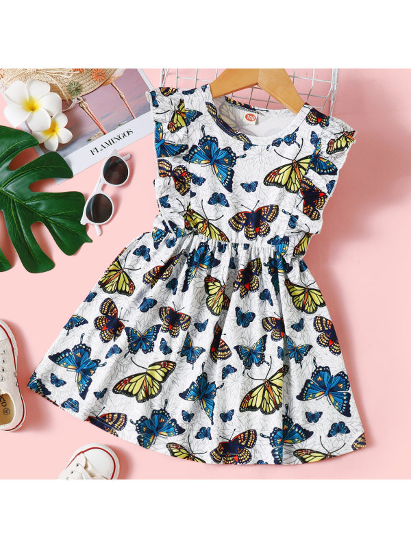 【18M-7Y】Sweet Butterfly Print Round Neck Dress