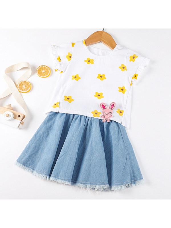 【12M-7Y】Sweet Flower Print T-shirt and Denim Skirt Set