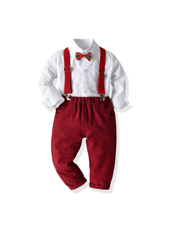 【12M-7Y】Boys' Long-sleeved Shirt Bow Tie Bib Outfit