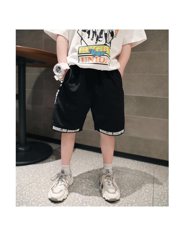 【4Y-15Y】Boys Printed Letters Sports Quick-drying Pants Shorts
