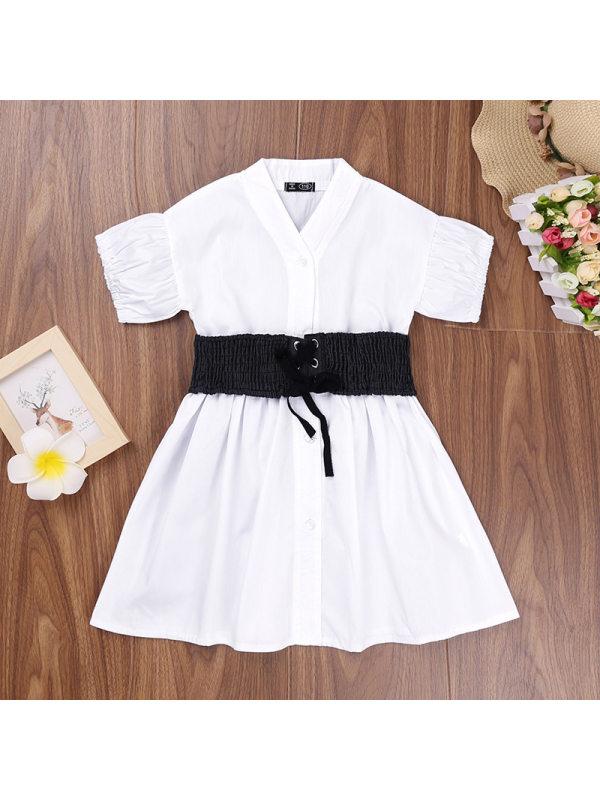 【3Y-11Y】Girls V-neck Temperament Waist Short-sleeved Dress