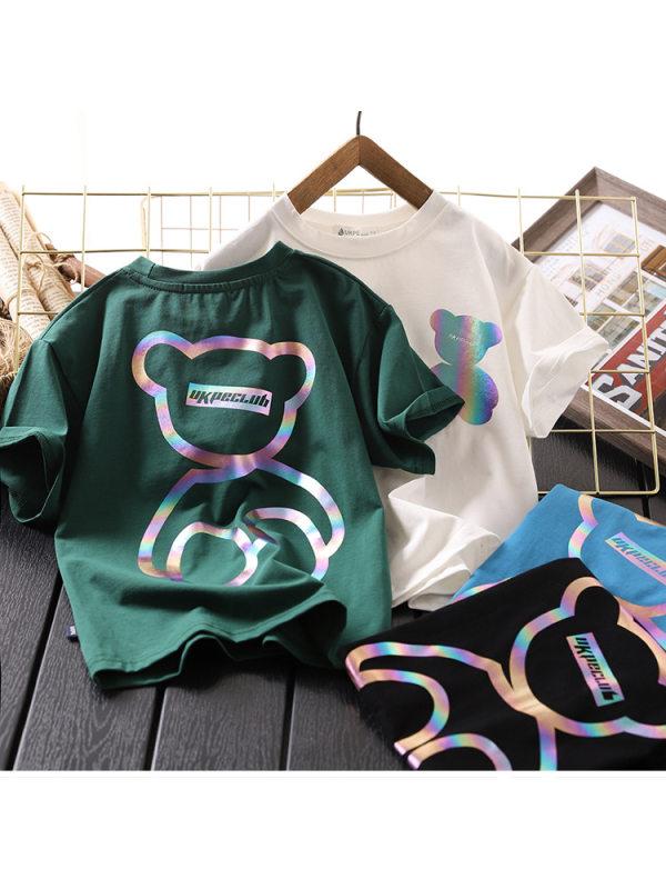 【3Y-13Y】Boys Cartoon Print Short-sleeved T-shirt