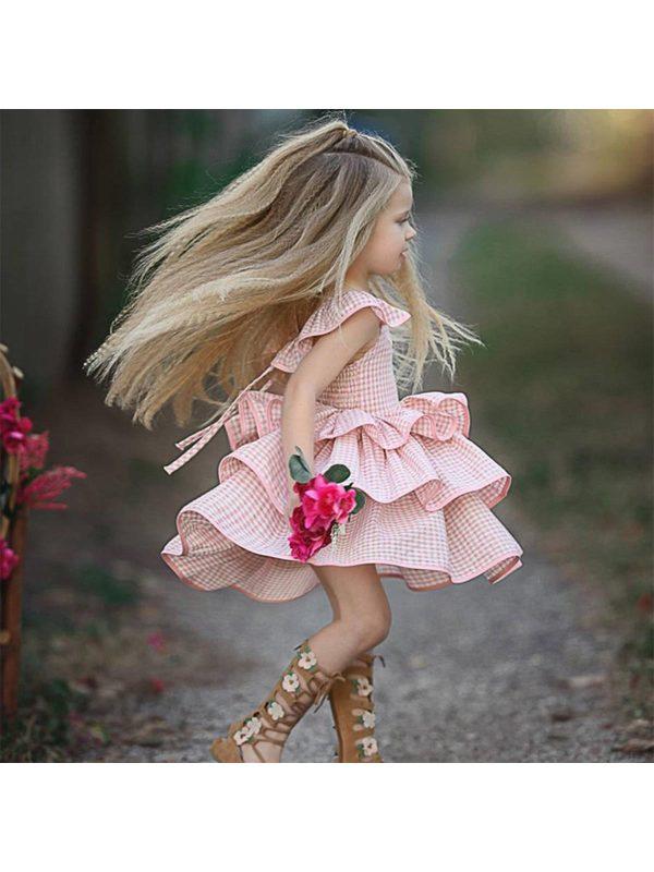 【12M-5Y】Girls Plaid Backless Flying Sleeve Tie Cake Dress