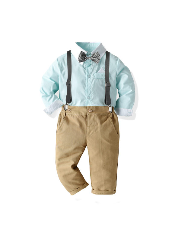 【12M-4Y】Boys' Long-sleeved Contrast Shirt Suspenders Bow Tie Suit