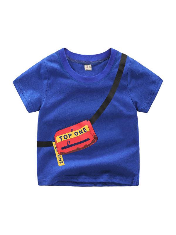【2Y-9Y】Boys' Letters Print Trendy Short Sleeve T-shirt