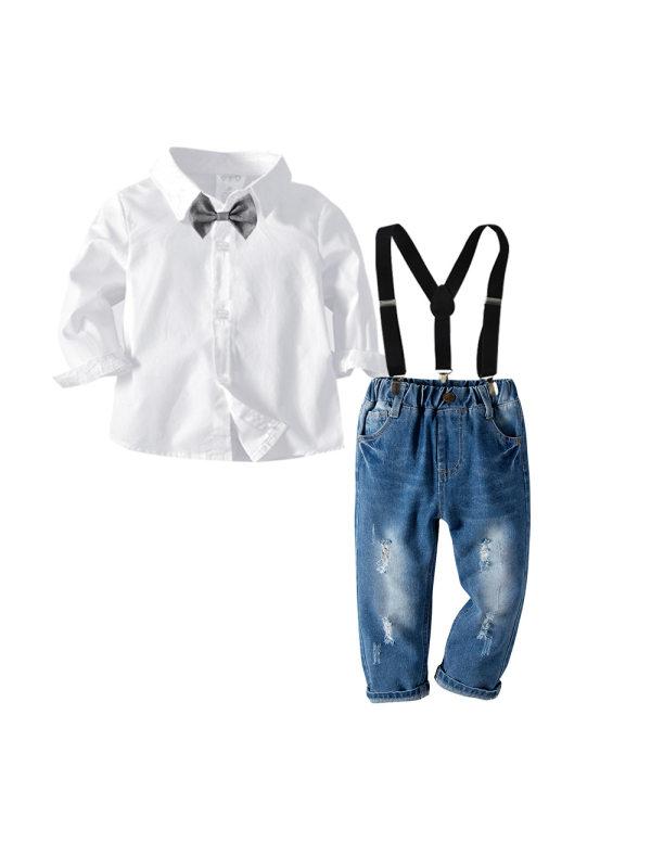 【18M-7Y】Boys' Bow Tie Shirt Suspenders Gentleman Suit