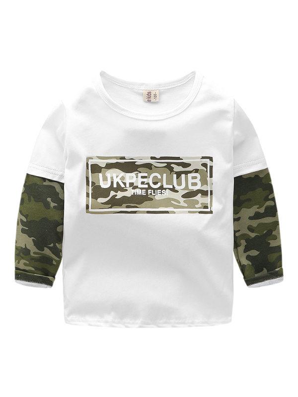 【2Y-9Y】Boys Camouflage Stitching Long Sleeve T-shirt
