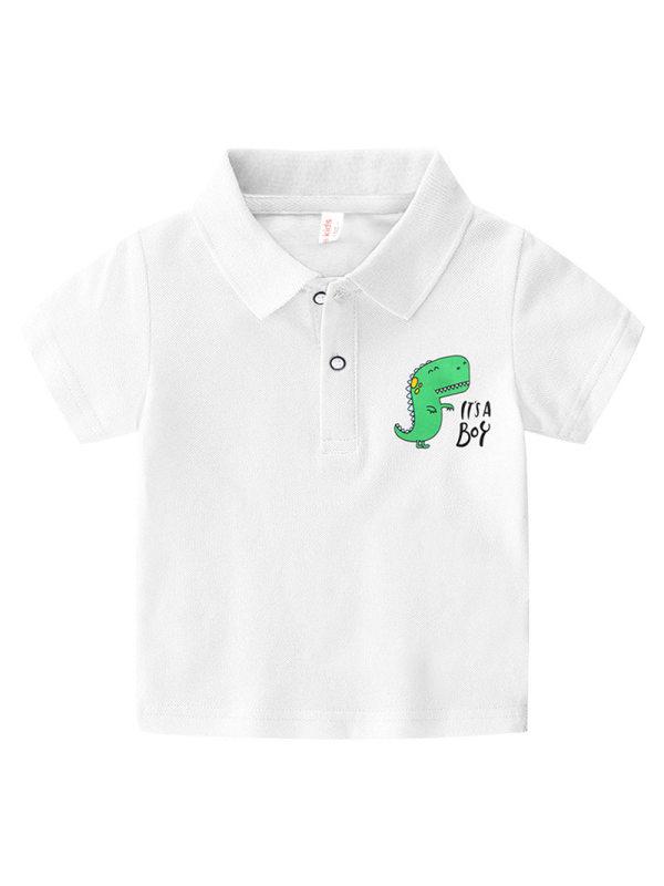 【18M-7Y】Boys' Cartoon Print Short-sleeved Polo Shirt